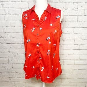 NWT Womens Charter Club sleeveless floral blouse